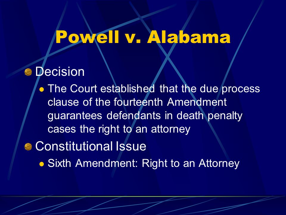 Powell v. Alabama Decision Constitutional Issue
