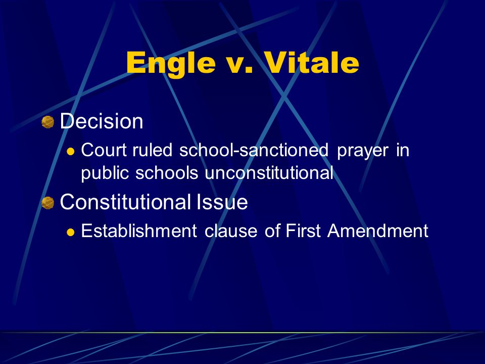 Engle v. Vitale Decision Constitutional Issue