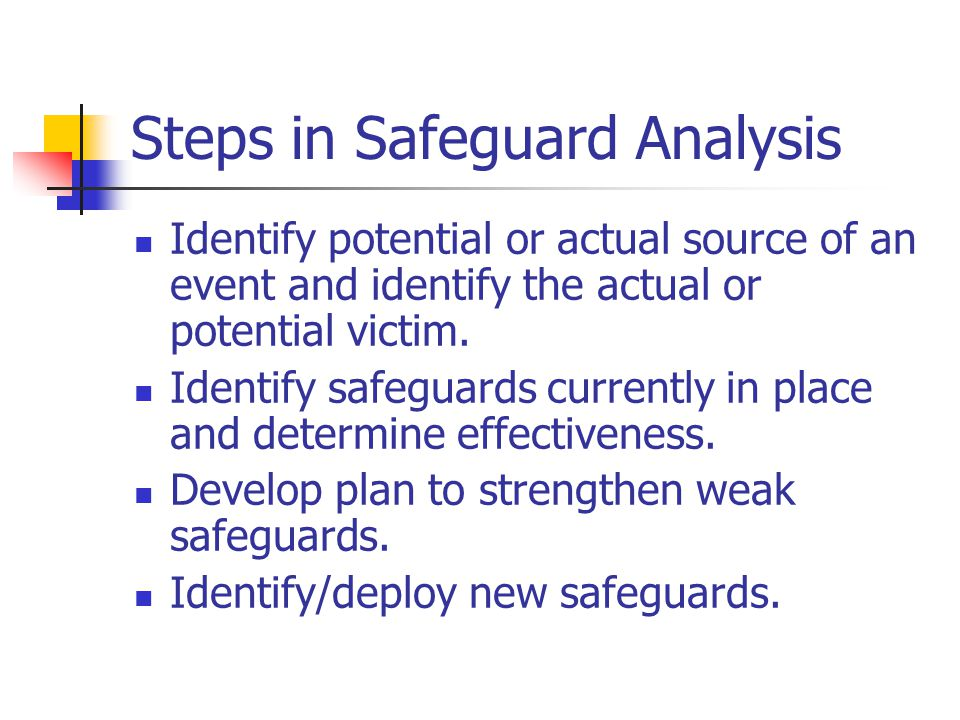 Steps in Safeguard Analysis