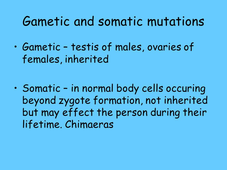 Gametic and somatic mutations