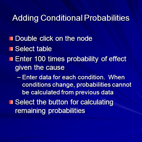 Adding Conditional Probabilities