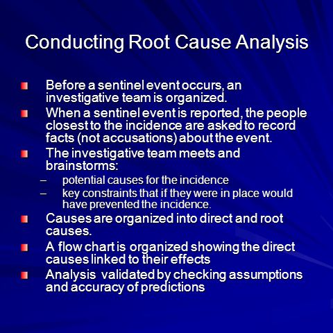 Conducting Root Cause Analysis