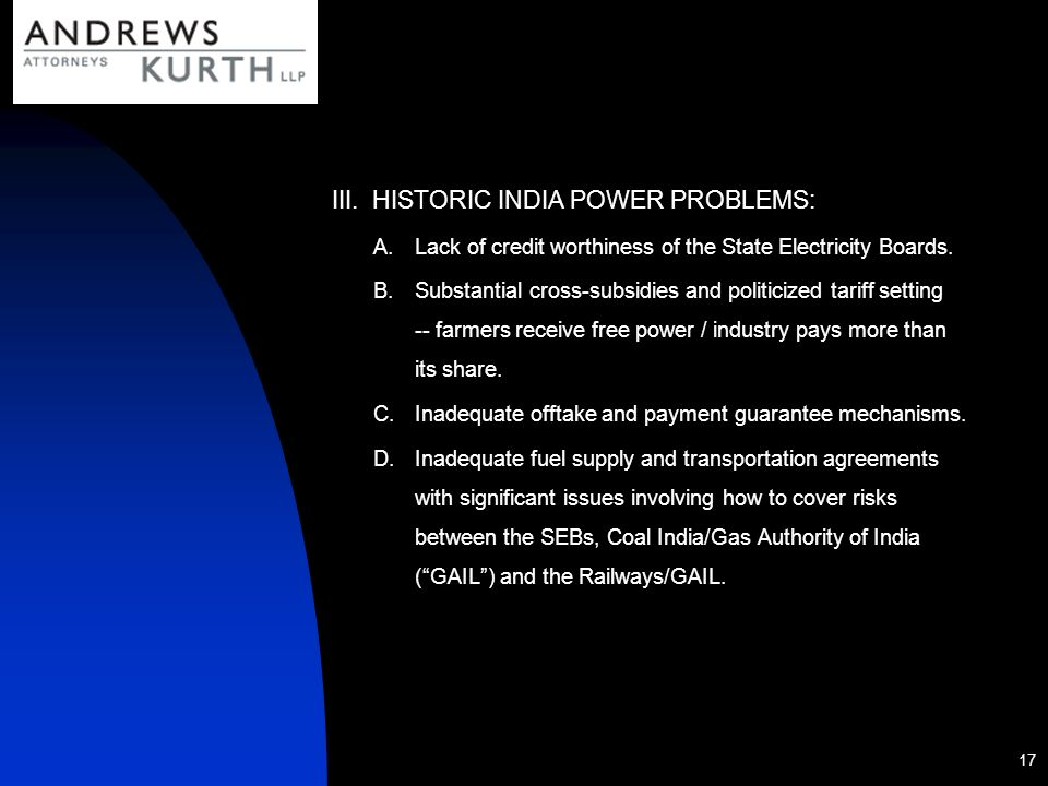 HISTORIC INDIA POWER PROBLEMS: