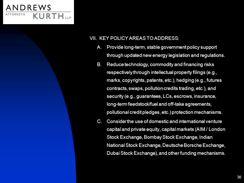 KEY POLICY AREAS TO ADDRESS: