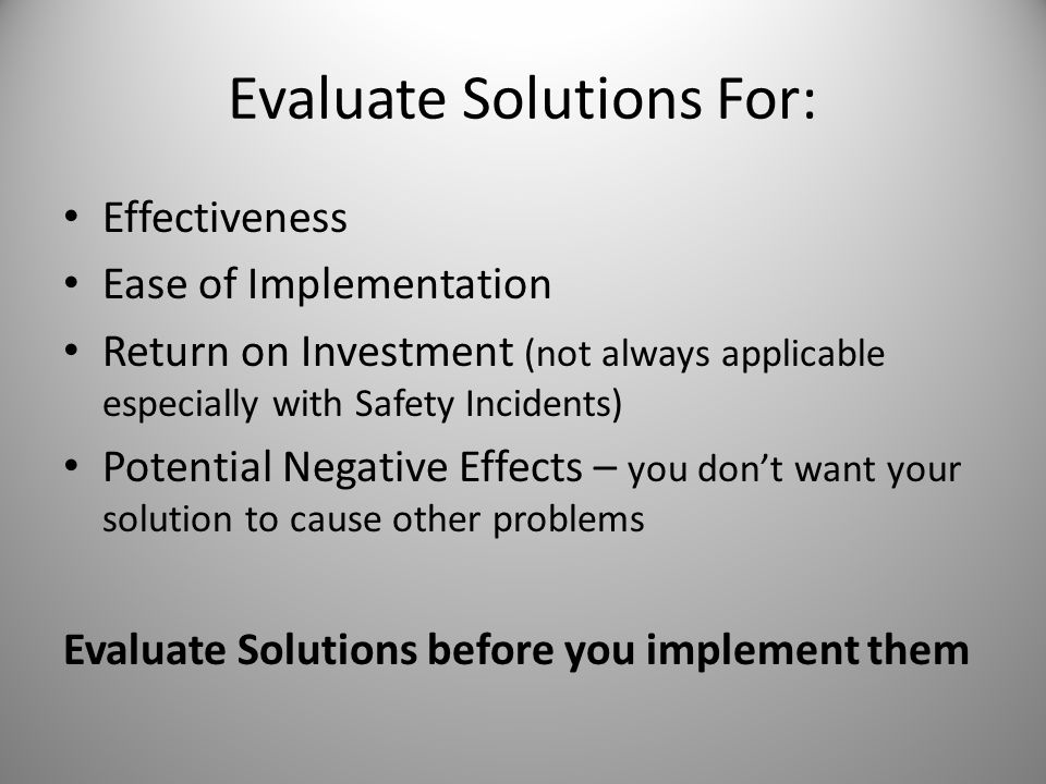 Evaluate Solutions For: