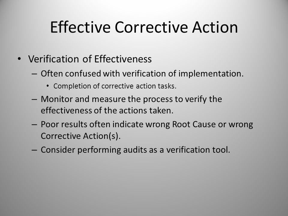 Effective Corrective Action