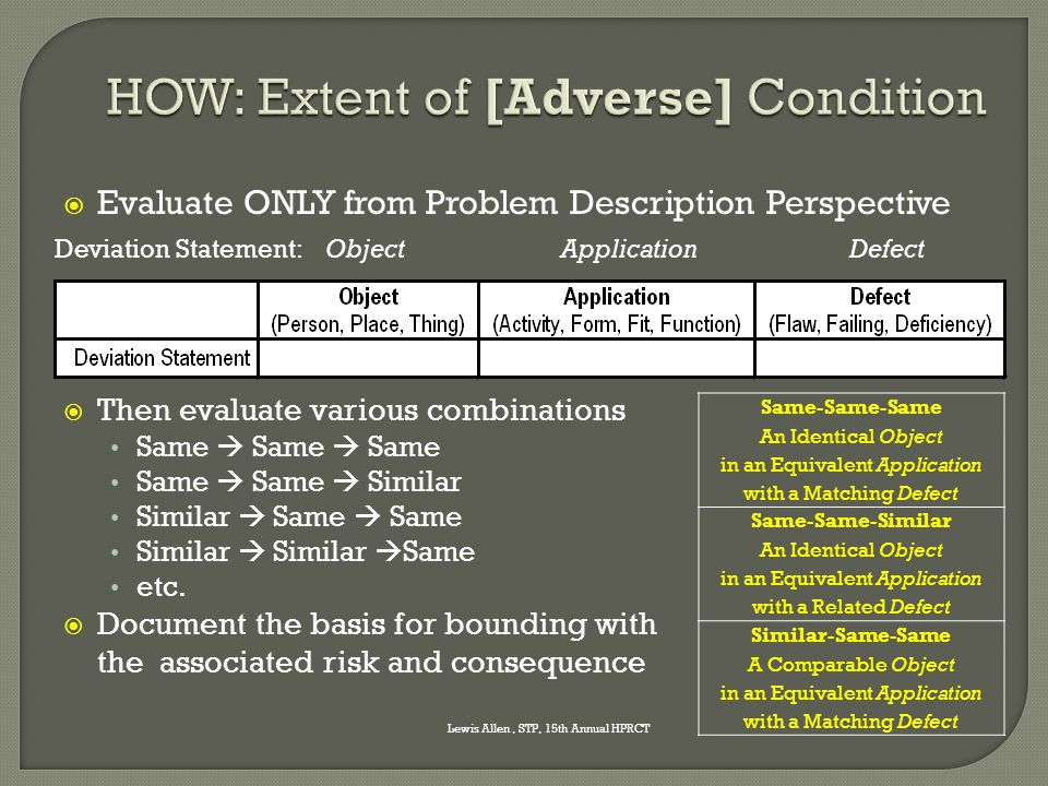 HOW: Extent of [Adverse] Condition