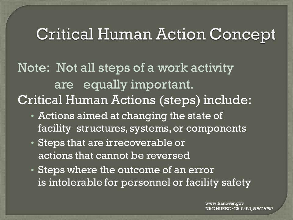 Critical Human Action Concept