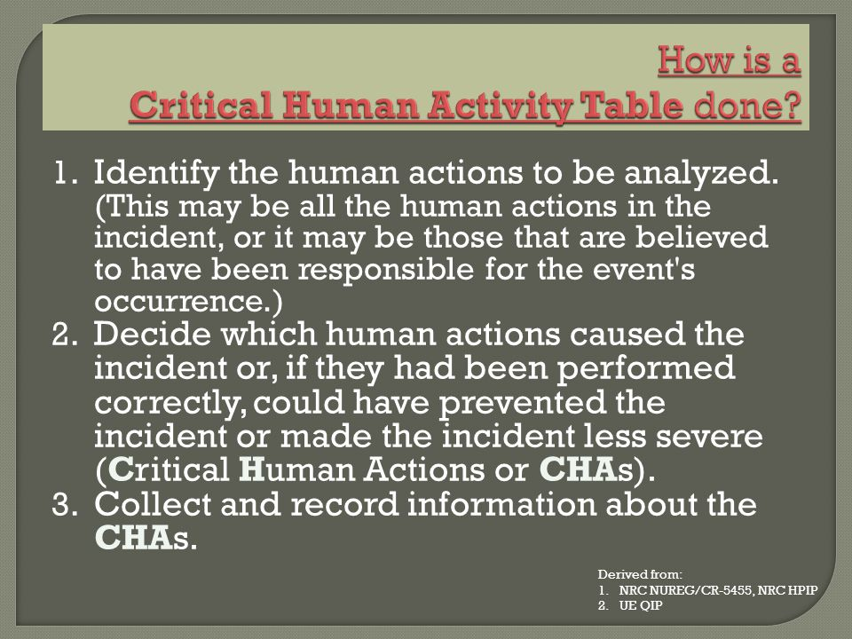 How is a Critical Human Activity Table done