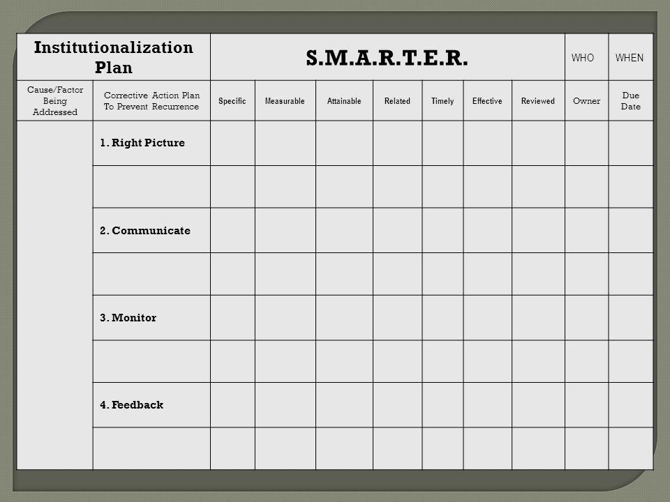 Institutionalization Plan