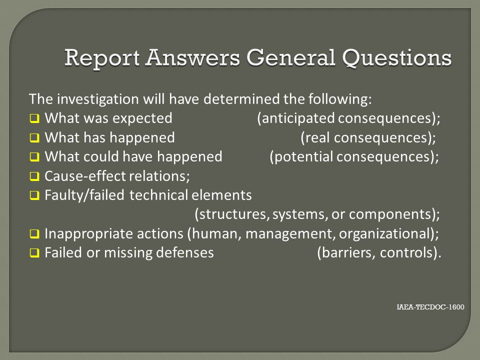 Report Answers General Questions