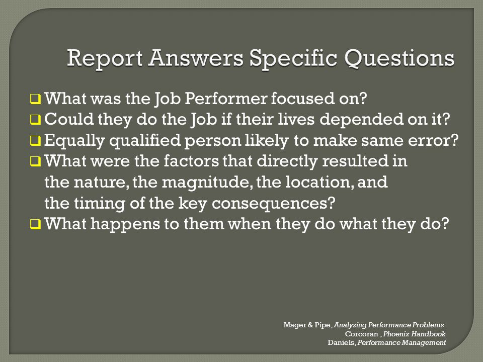 Report Answers Specific Questions
