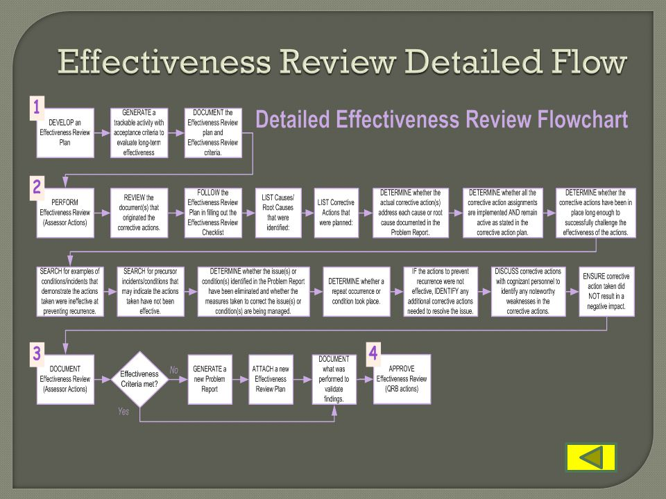 Effectiveness Review Detailed Flow