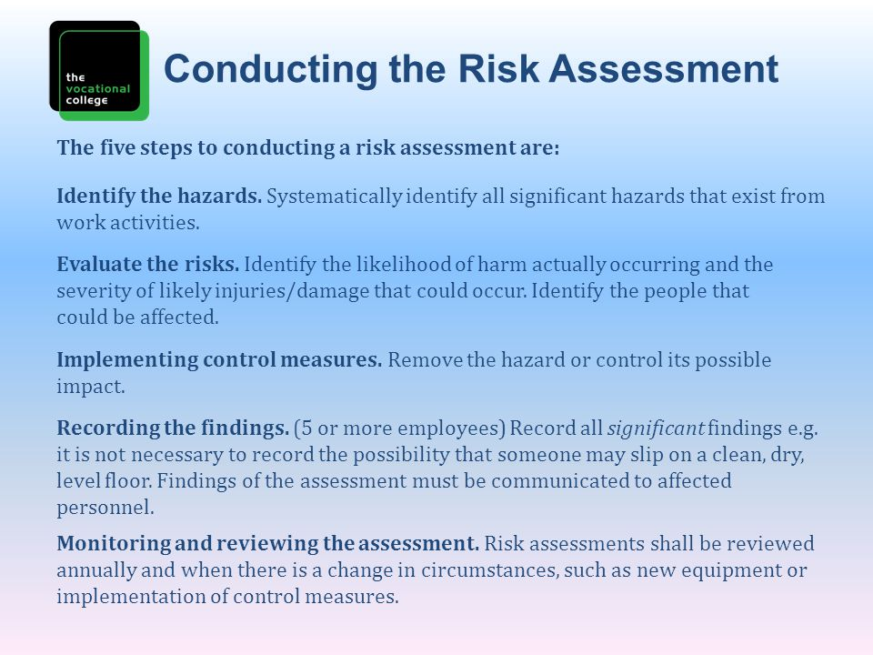 Conducting the Risk Assessment