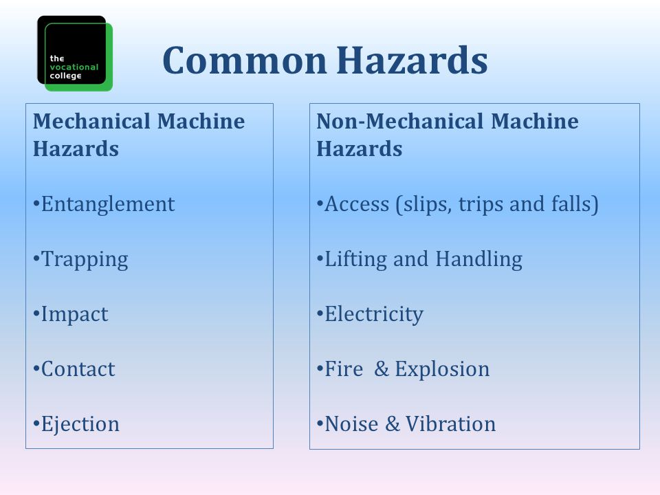 Common Hazards Mechanical Machine Hazards Entanglement Trapping Impact