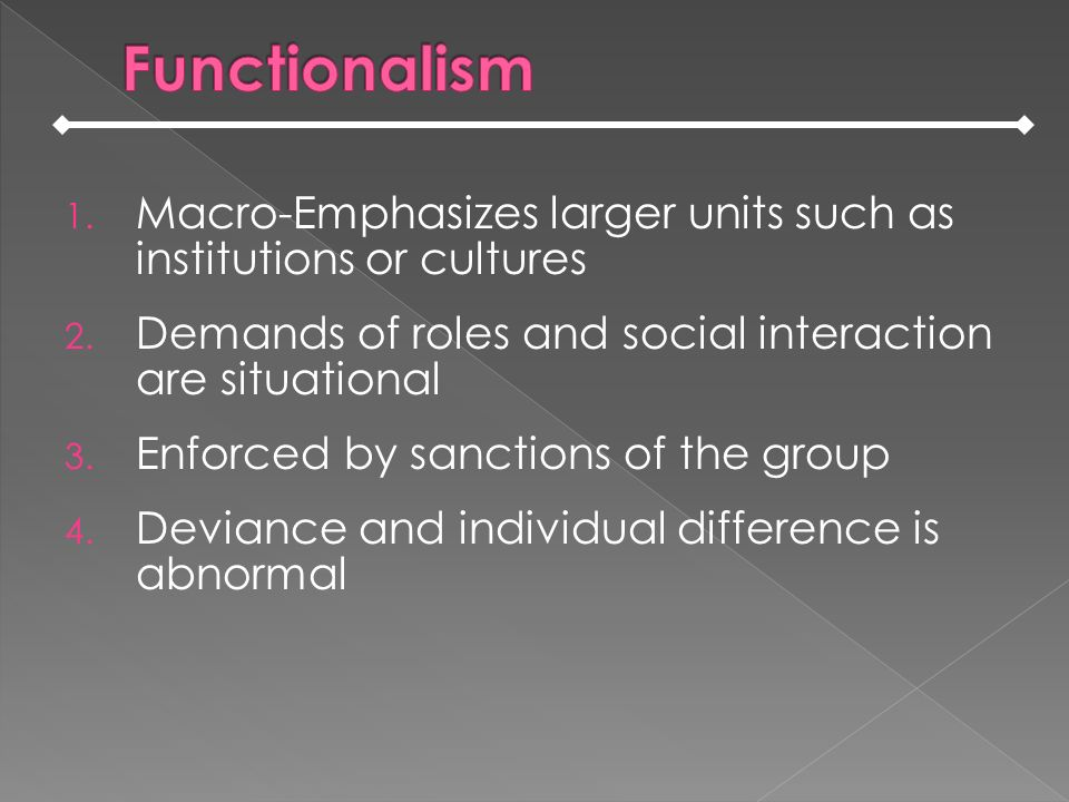 Functionalism Macro-Emphasizes larger units such as institutions or cultures. Demands of roles and social interaction are situational.