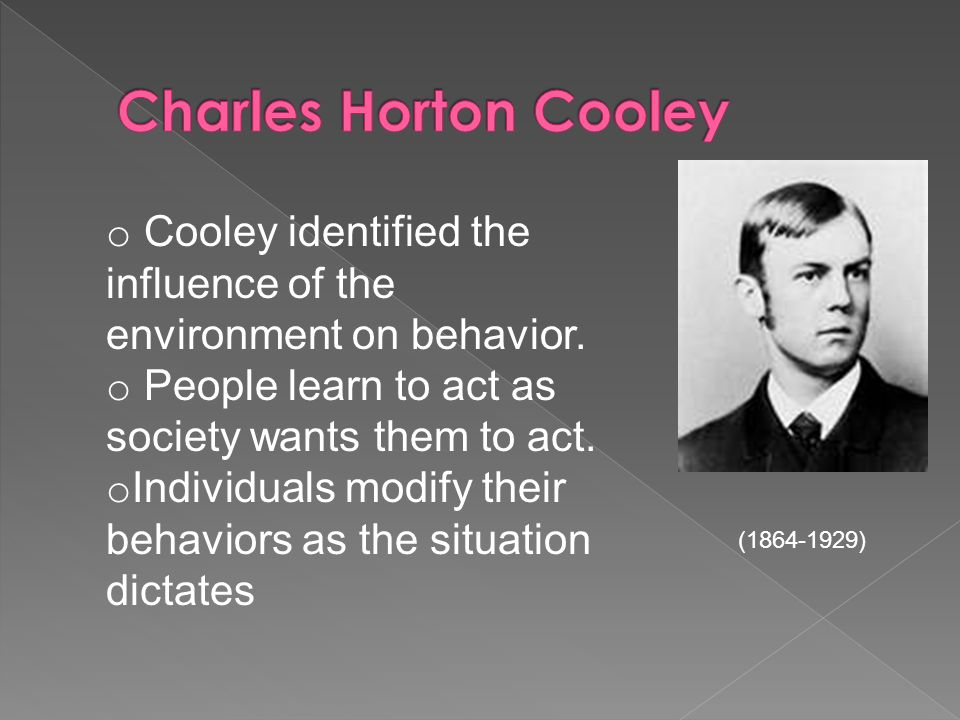 Charles Horton Cooley Cooley identified the influence of the environment on behavior. People learn to act as society wants them to act.