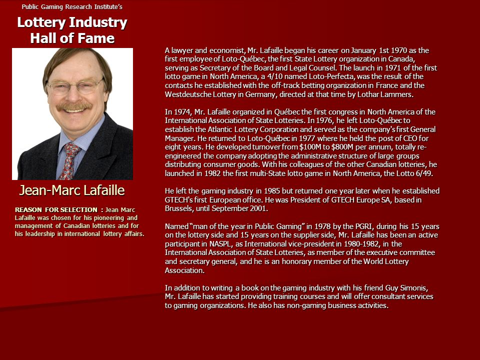 Public Gaming Research Institute's Lottery Industry Hall of Fame
