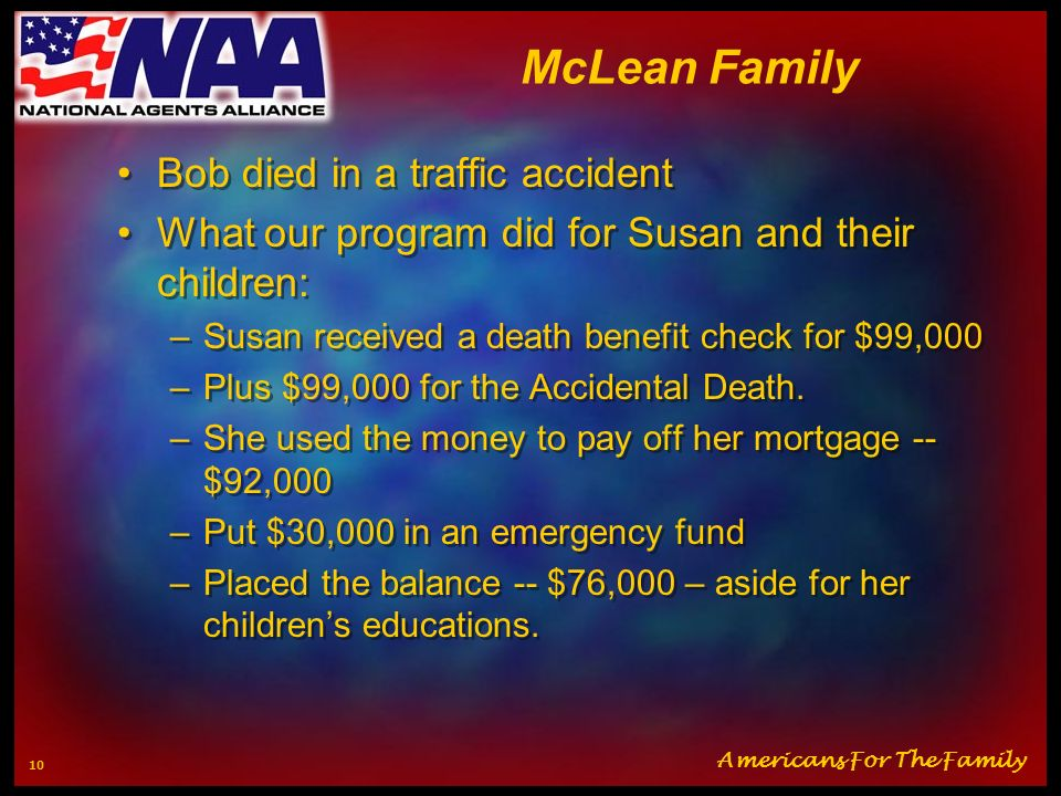 McLean Family Bob died in a traffic accident