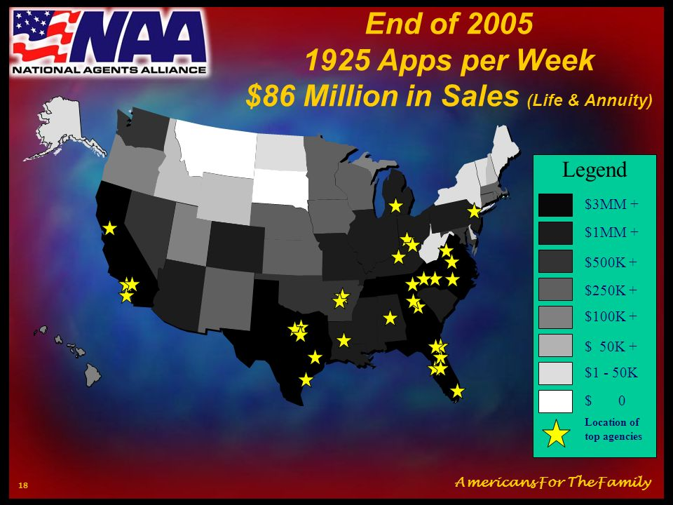 End of 2005 1925 Apps per Week $86 Million in Sales (Life & Annuity)
