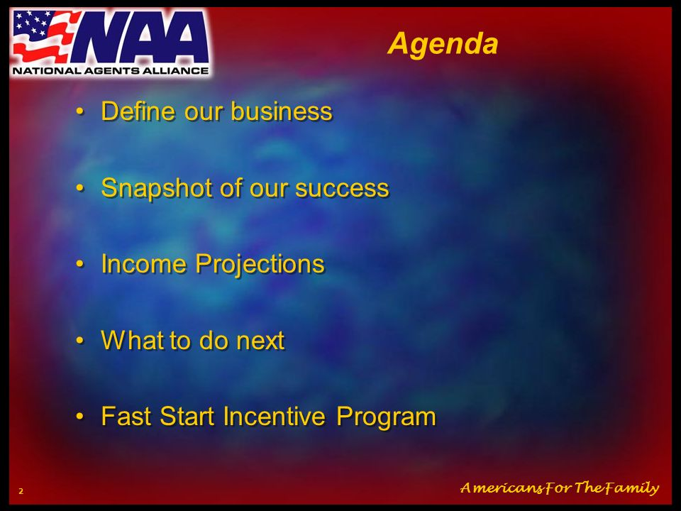 Agenda Define our business Snapshot of our success Income Projections