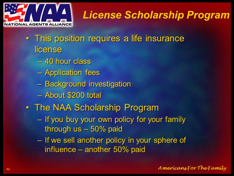 License Scholarship Program