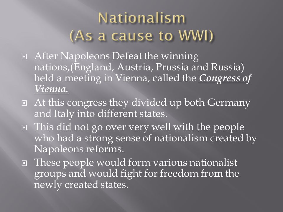 Nationalism (As a cause to WWI)