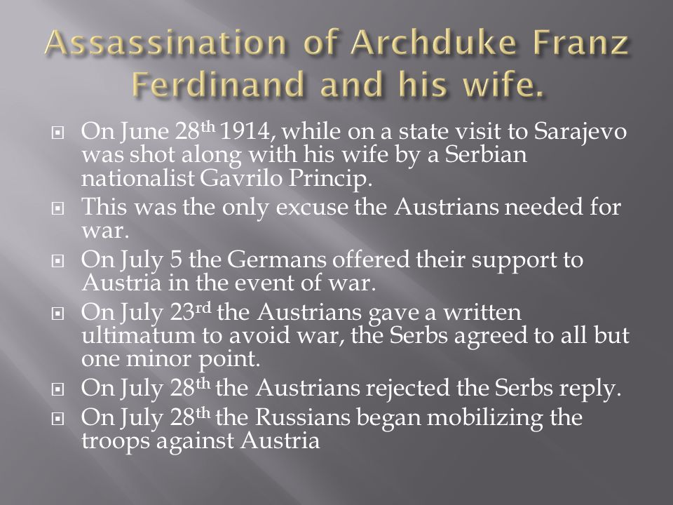 Assassination of Archduke Franz Ferdinand and his wife.