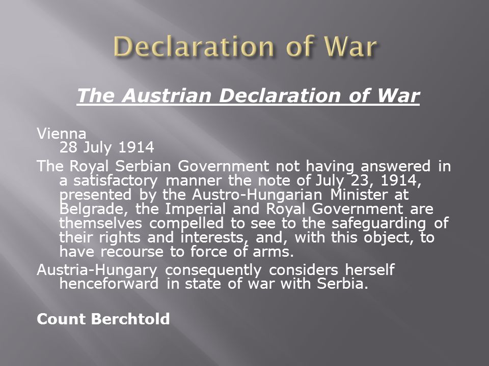The Austrian Declaration of War