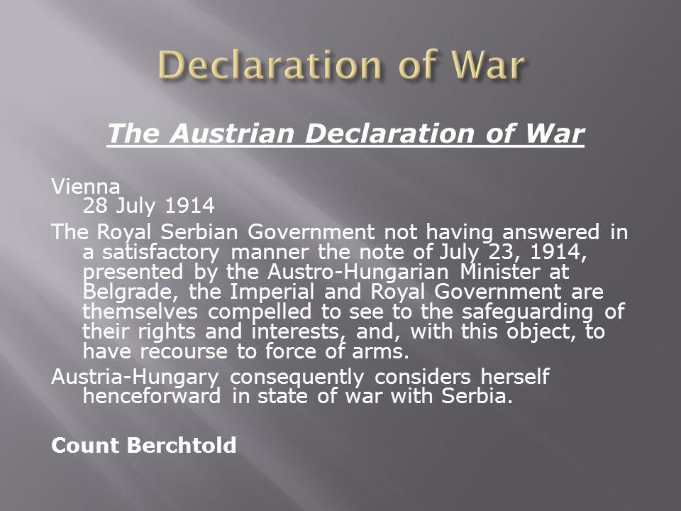 The Austrian Declaration of War