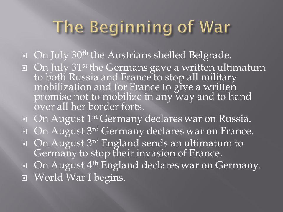 The Beginning of War On July 30th the Austrians shelled Belgrade.