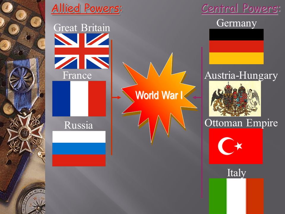 Allied Powers: Central Powers: Germany. Great Britain. World War I. France. Austria-Hungary. Ottoman Empire.