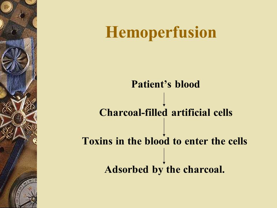 Hemoperfusion Patient's blood Charcoal-filled artificial cells