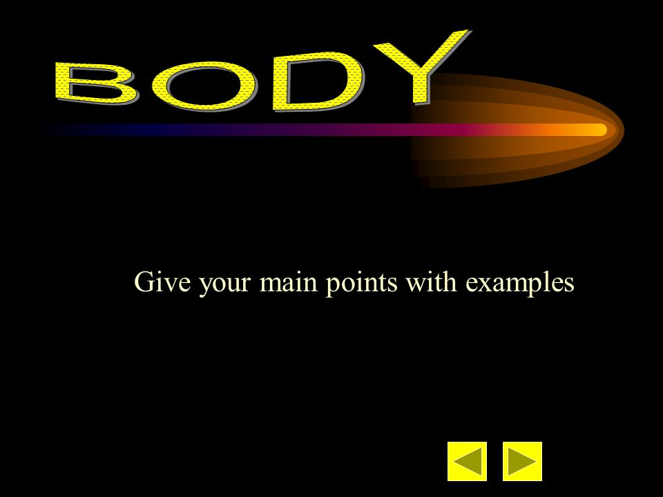 BODY Give your main points with examples