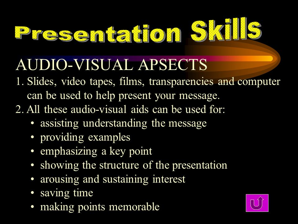 AUDIO-VISUAL APSECTS Presentation Skills