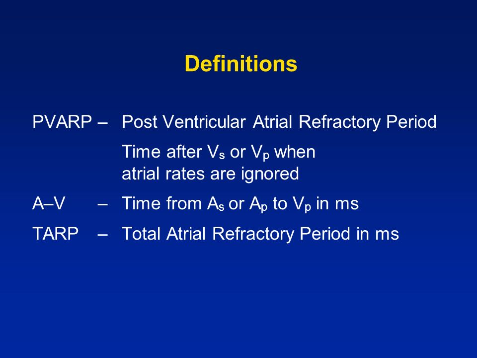 Definitions PVARP – Post Ventricular Atrial Refractory Period