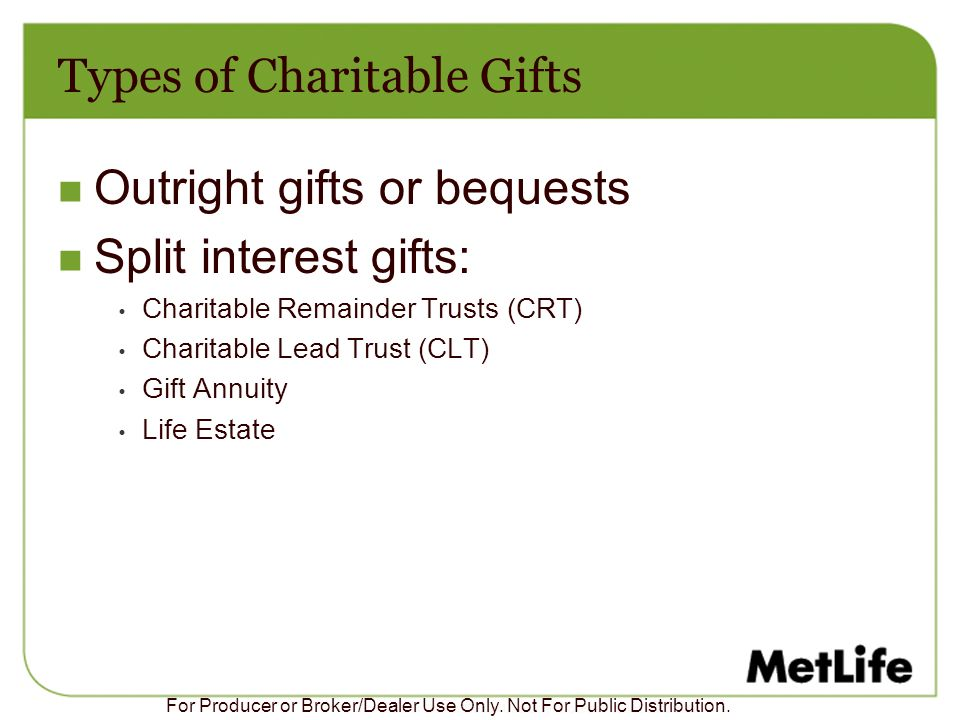 Types of Charitable Gifts