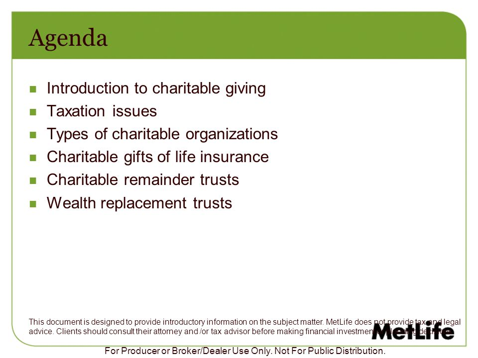 Agenda Introduction to charitable giving Taxation issues