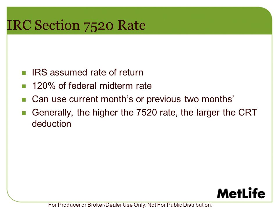 IRC Section 7520 Rate IRS assumed rate of return