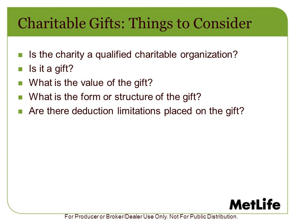 Charitable Gifts: Things to Consider