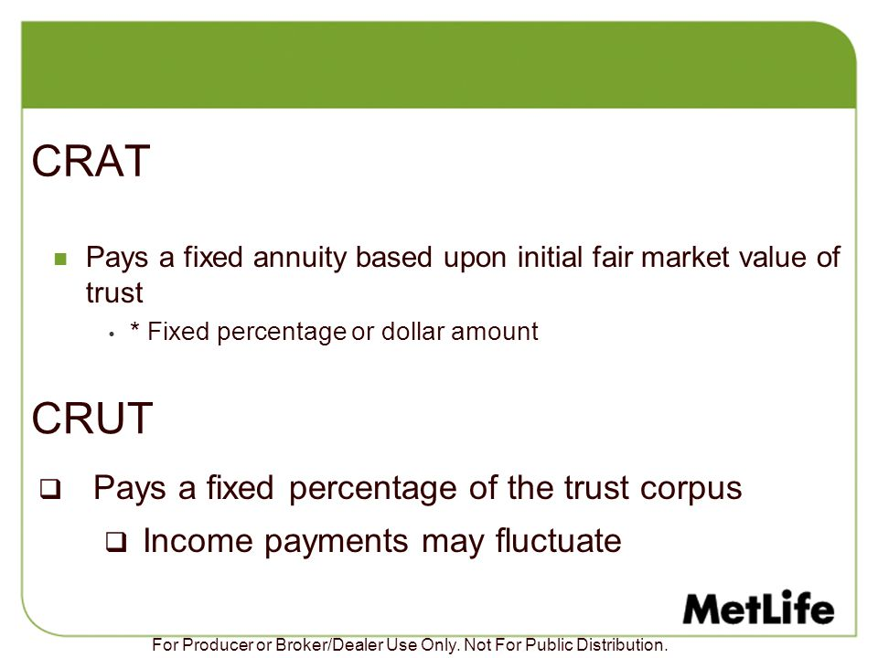 CRAT CRUT Pays a fixed percentage of the trust corpus