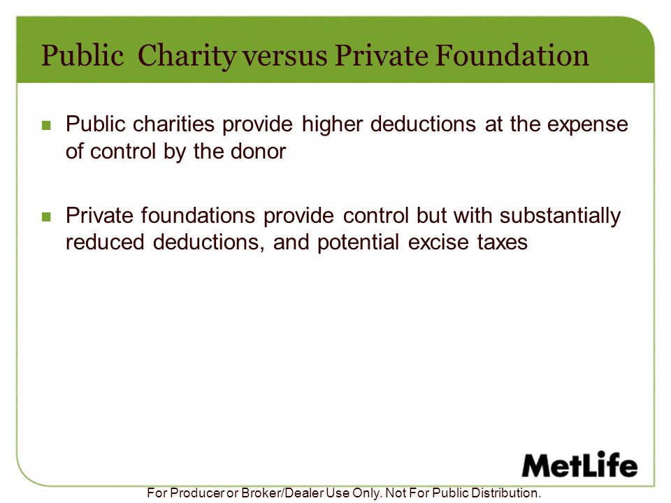 Public Charity versus Private Foundation