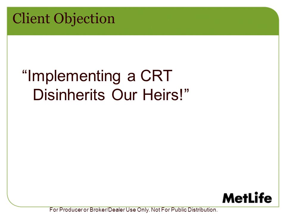 Implementing a CRT Disinherits Our Heirs!