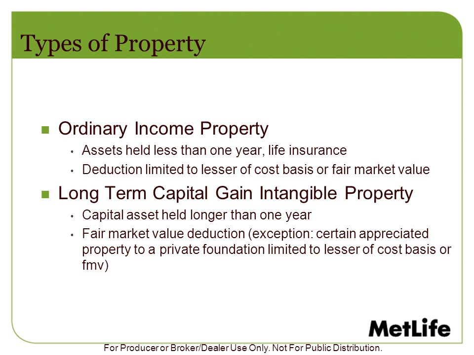 Types of Property Ordinary Income Property