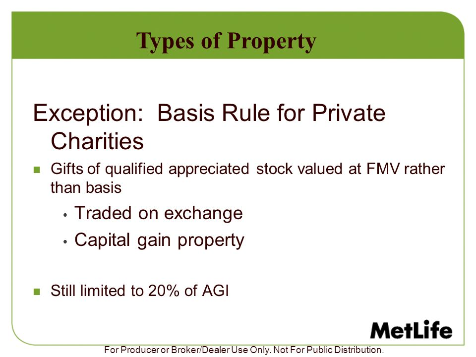 Exception: Basis Rule for Private Charities