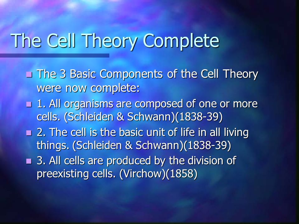 The Cell Theory Complete