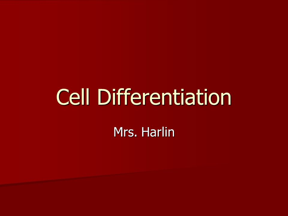 Cell Differentiation Mrs. Harlin