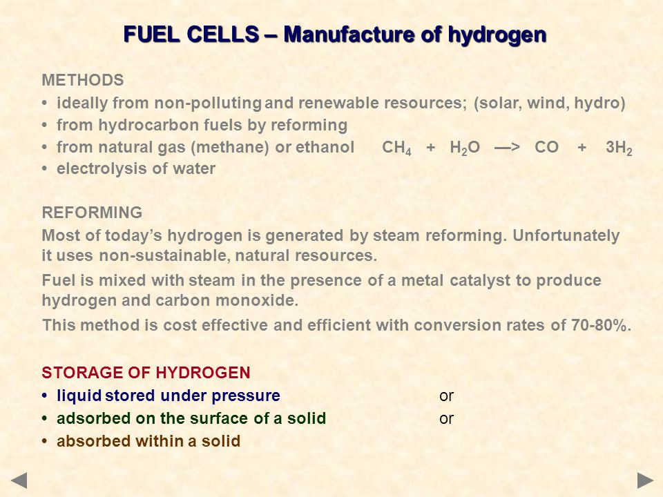 FUEL CELLS – Manufacture of hydrogen
