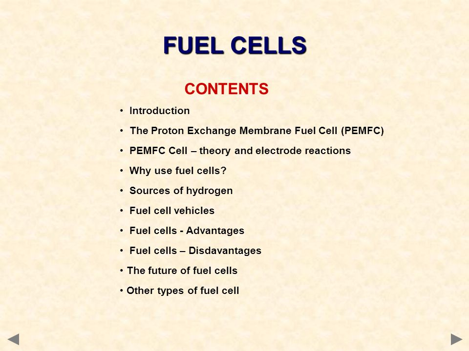 FUEL CELLS CONTENTS Introduction