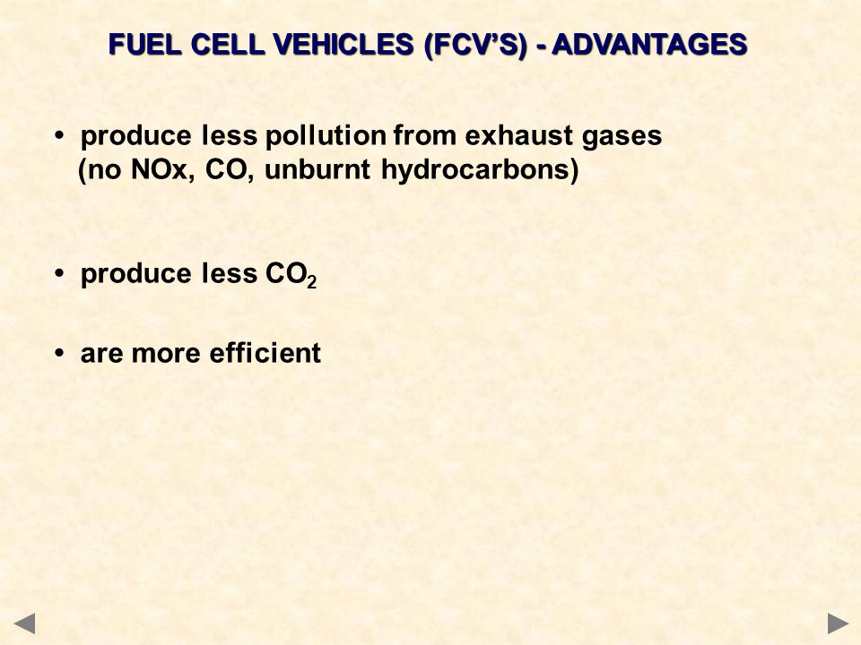FUEL CELL VEHICLES (FCV'S) - ADVANTAGES